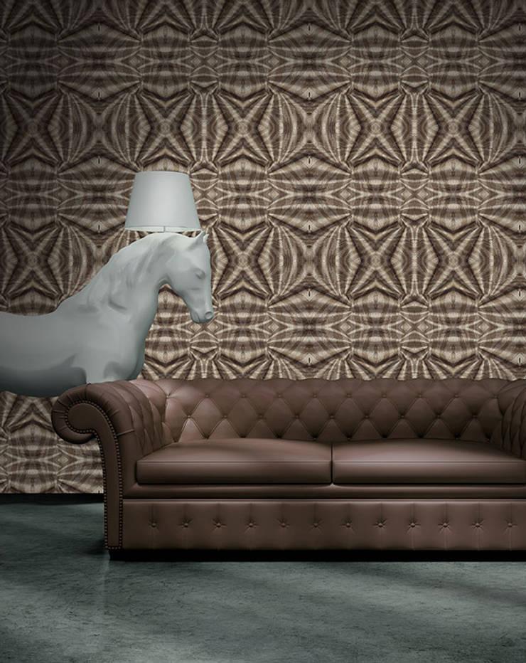 Tecido de Madeira: Parede e piso  por OH Wallpaper