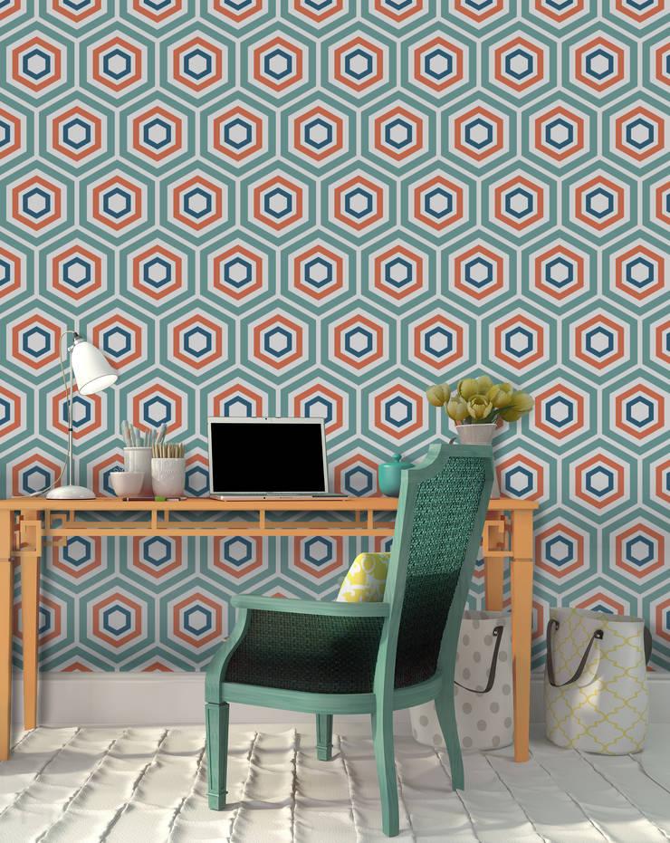 Hexágono Azul e Vermelho: Parede e piso  por OH Wallpaper