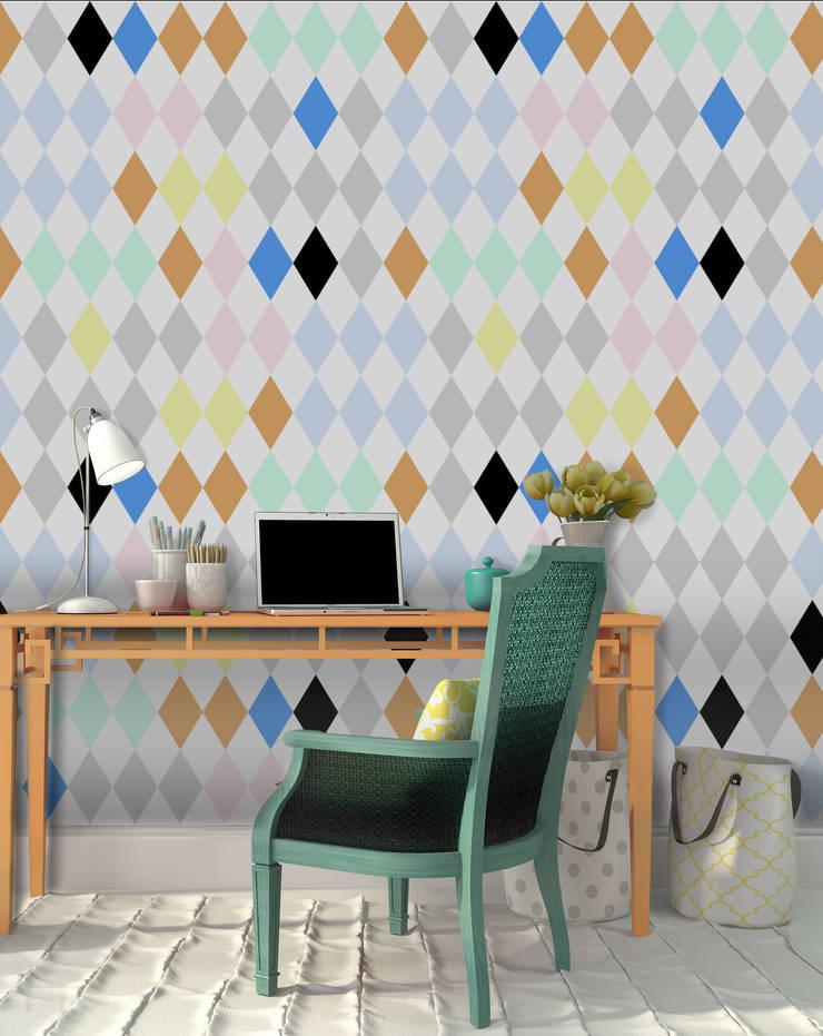 Losango Coordenado Colorido: Parede e piso  por OH Wallpaper