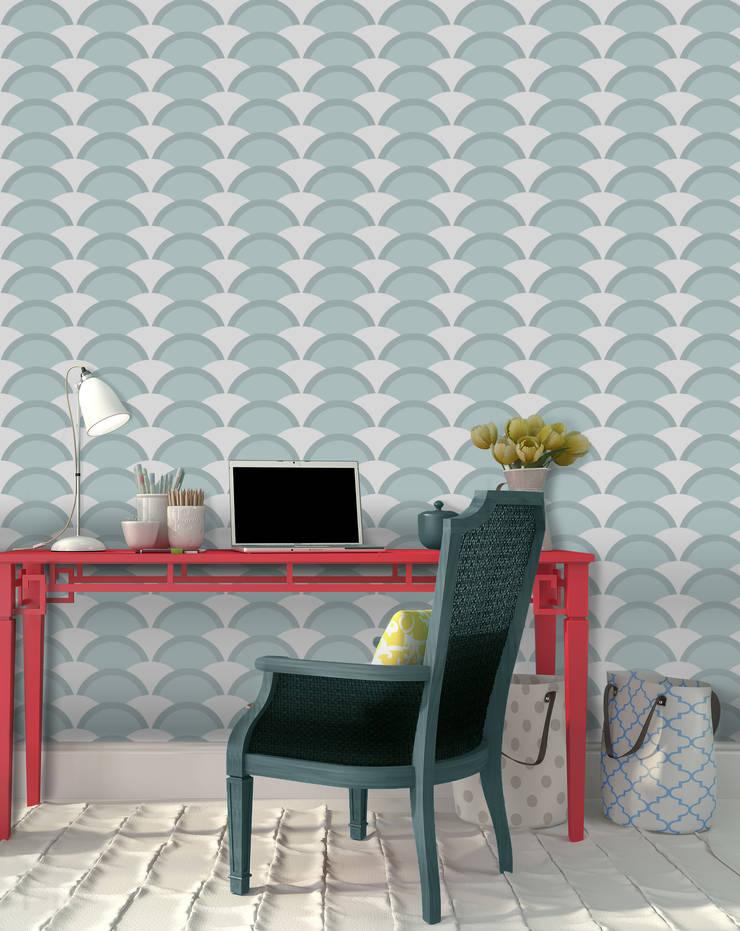 Onda Azul: Parede e piso  por OH Wallpaper