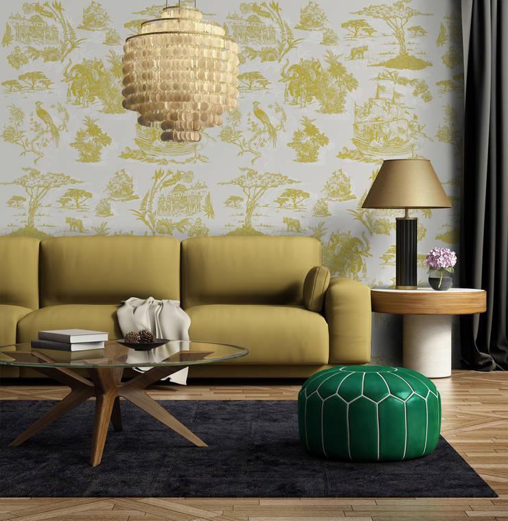 Toile Mostarda: Parede e piso  por OH Wallpaper