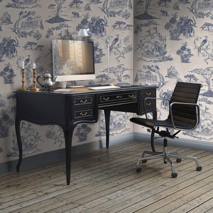 Toile Azul e Bege: Parede e piso  por OH Wallpaper