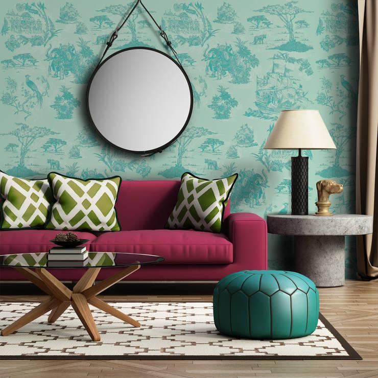 Toile Azul-Verde Água: Parede e piso  por OH Wallpaper