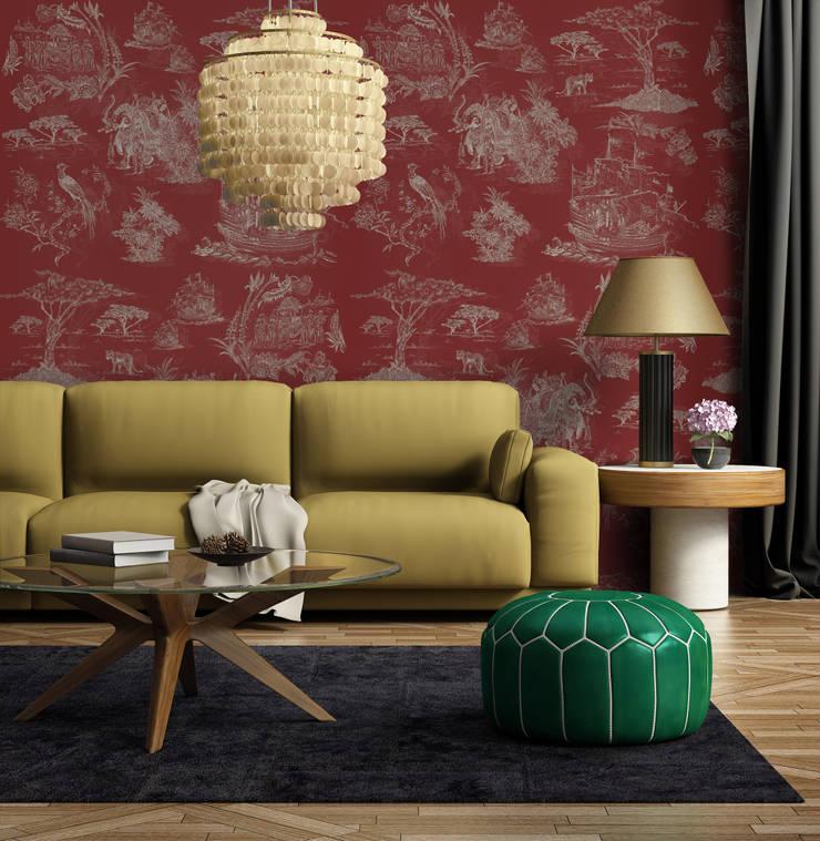 Toile Bege e Vermelho: Parede e piso  por OH Wallpaper