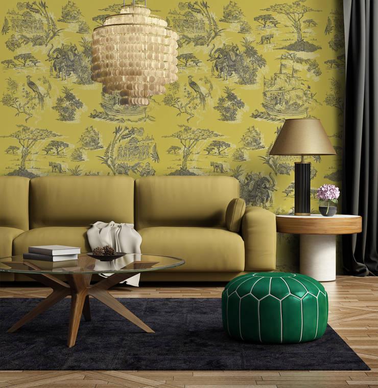 Toile Cinzento e Mostarda: Parede e piso  por OH Wallpaper