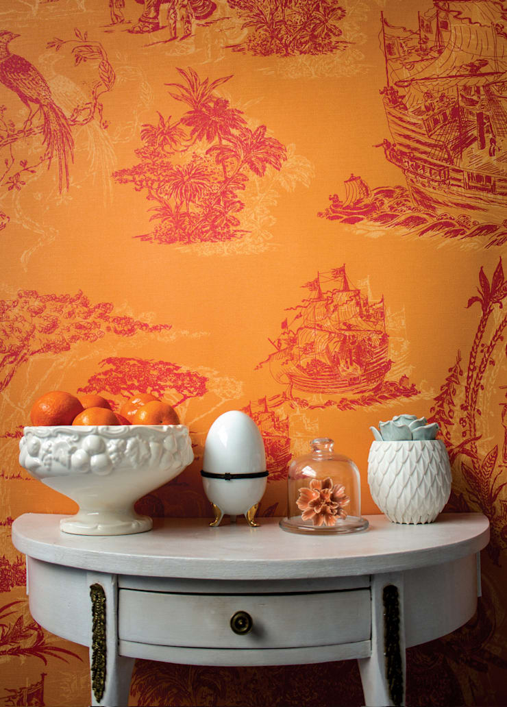 Toile Rosa e Laranja: Parede e piso  por OH Wallpaper