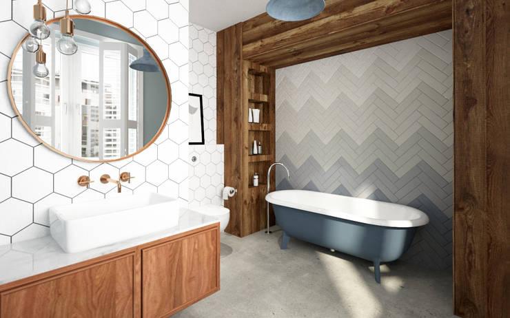 Kobiecy apartament: styl , w kategorii Łazienka zaprojektowany przez Krystyna Regulska Architektura Wnętrz