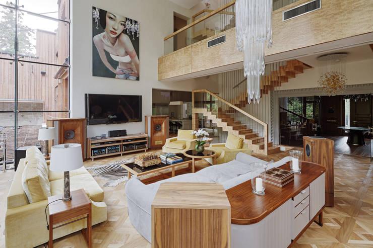 Особняк в Барвихе: Гостиная в . Автор – Архитектурное бюро Бахарев и Партнеры
