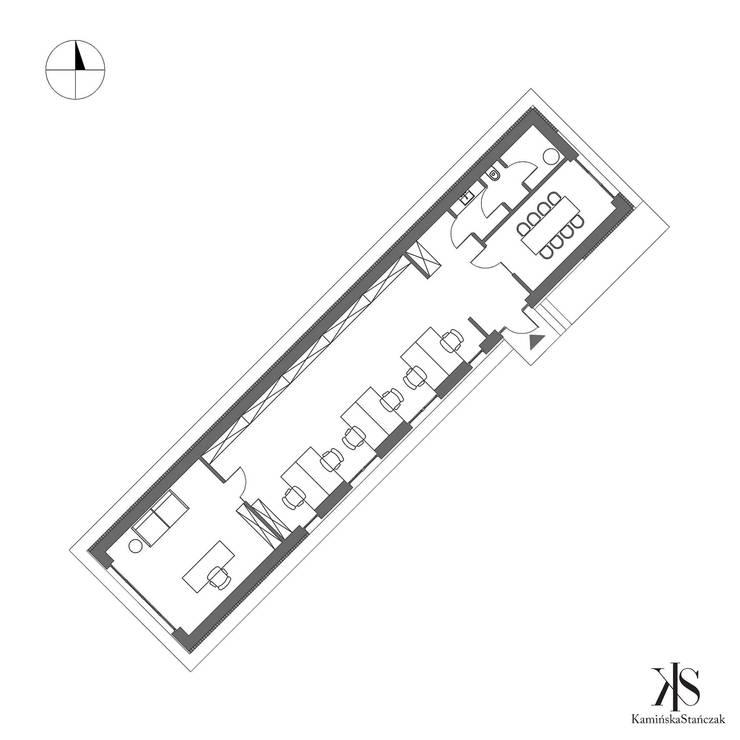 Biuro pod Krakowem - rzut: styl , w kategorii Przestrzenie biurowe i magazynowe zaprojektowany przez Kamińska Stańczak