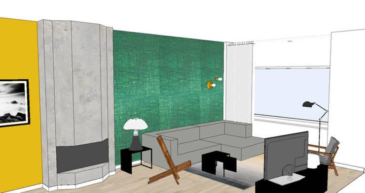 Woonkamer 3D visual:  Woonkamer door Studio Mind