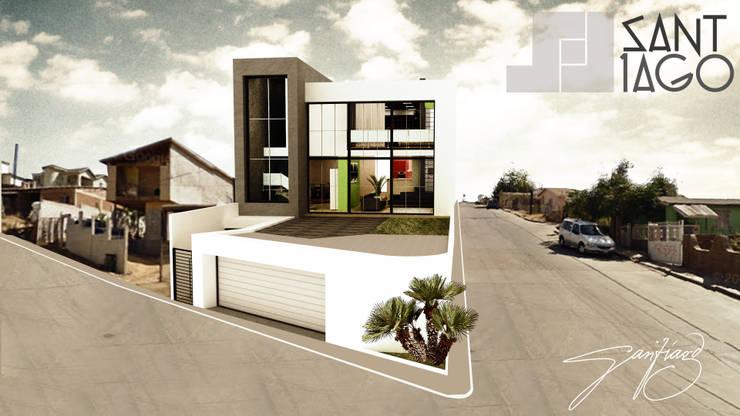 Fachada Principal A': Casas de estilo  por SANT1AGO arquitectura y diseño