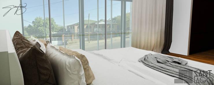 Recamara Principal (vista al exterior: Recámaras de estilo  por SANT1AGO arquitectura y diseño