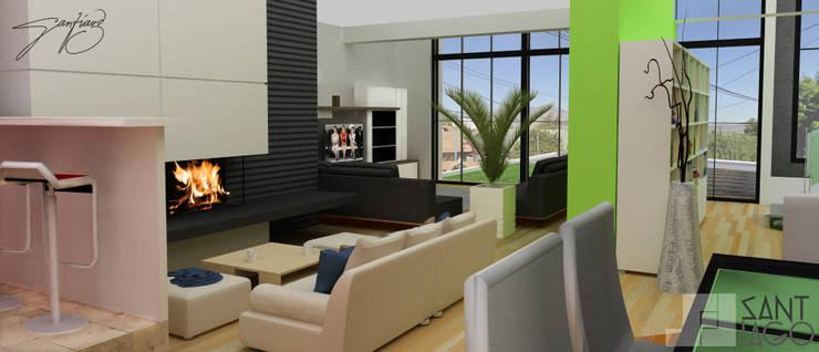 Comedor Area de estar: Comedores de estilo  por SANT1AGO arquitectura y diseño