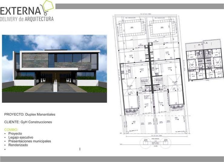 Duplex Manantiales: Casas de estilo  por Externa Arquitectura