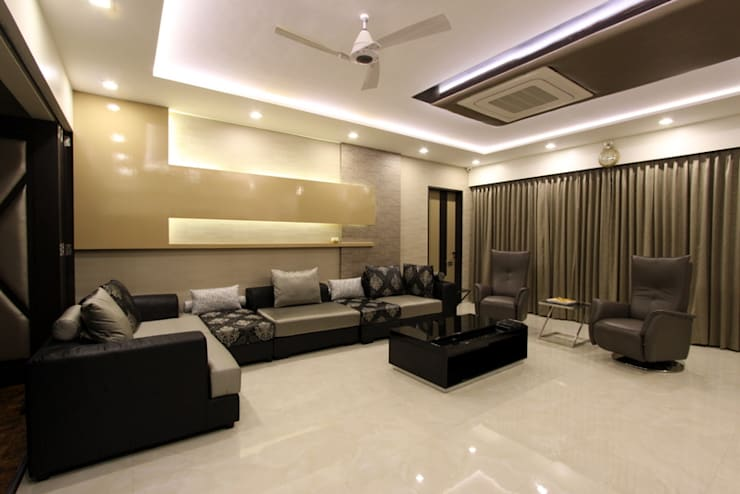 Family room:  Living room by Mind Studio