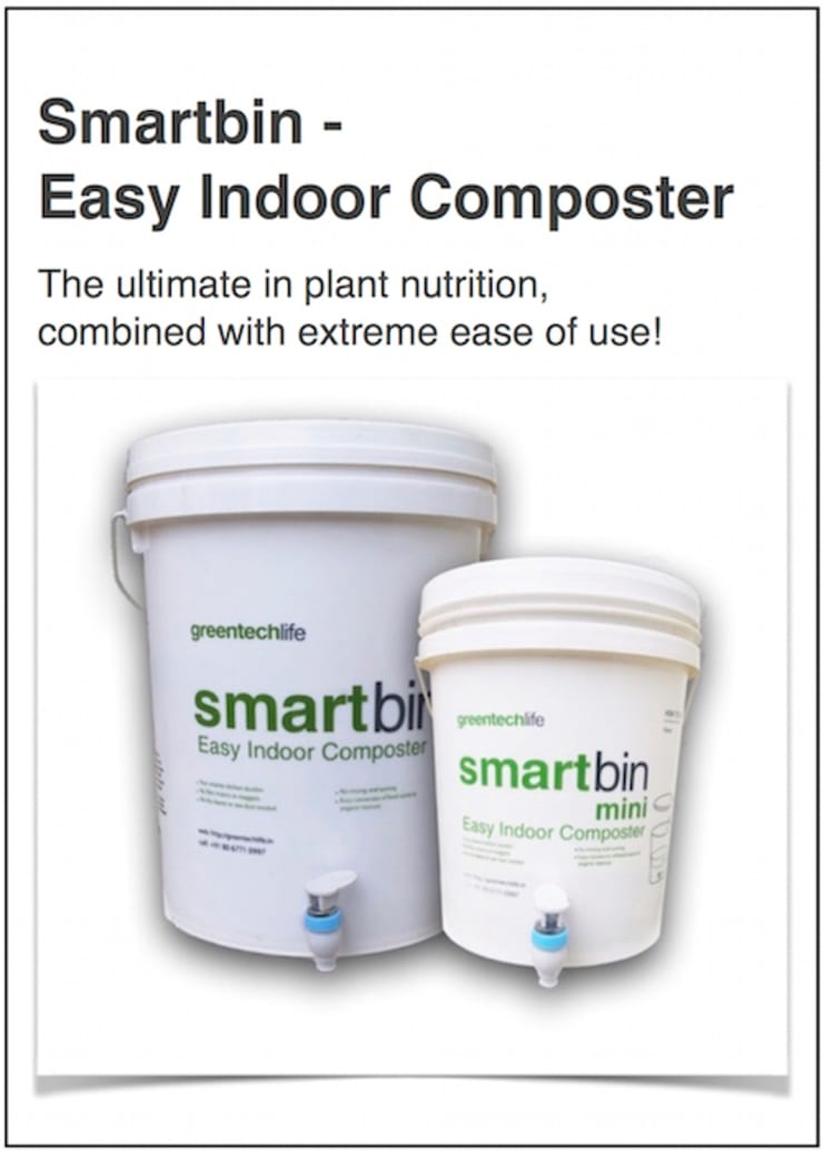 SmartBin- Easy indoor composter (recycle bin):  Kitchen by GreenTech Life