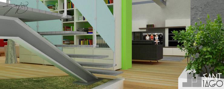 E-Aguilar: Pasillos y recibidores de estilo  por SANT1AGO arquitectura y diseño