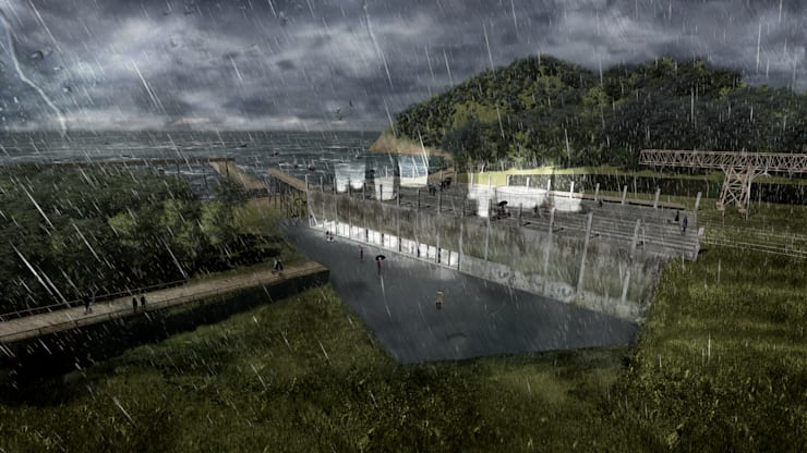Proyecto de Título Daniela Cáceres / Parque Cultural – Albergue Postcatástrofe LOTA GREEN:  de estilo  por NB Render Arquitectura