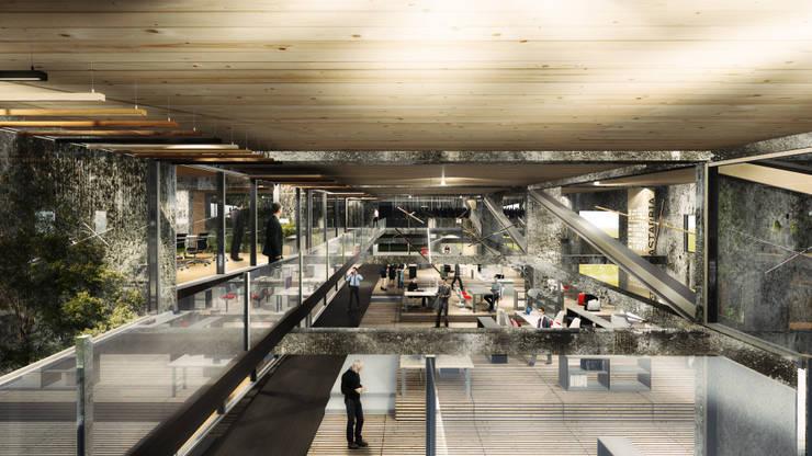 Proyecto de Título Enzo Vergara / No estacionar ! re-imaginando infraestructuras de movilidad urbana - el caso de los edificios de estacionamientos:  de estilo  por NB Render Arquitectura