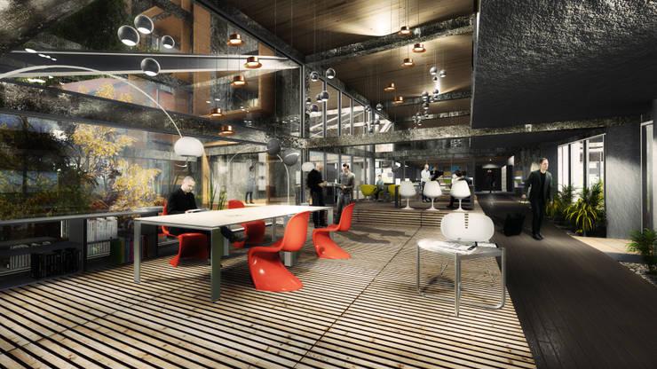 Proyecto de Título Enzo Vergara / No estacionar ! re-imaginando infraestructuras de movilidad urbana – el caso de los edificios de estacionamientos:  de estilo  por NB Render Arquitectura