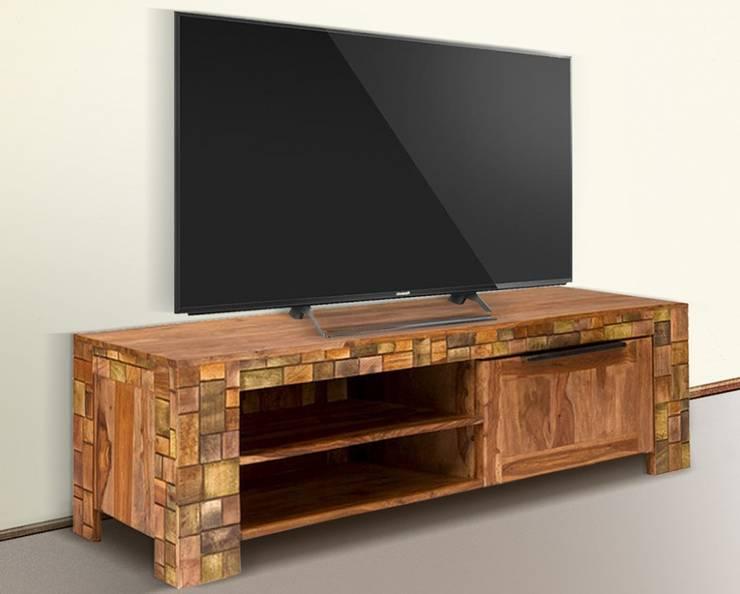 TV-Bank Quadrat 1türig Palisander Mosaik massiv Holz lackiert Möbel Wohnzimmer Lowboard:  Wohnzimmer von Moebelkultura.DE