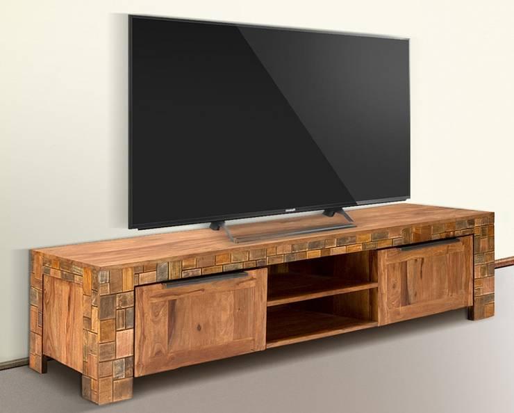 TV-Bank Quadrat 2türig Palisander Mosaik massiv Holz lackiert Möbel Wohnzimmer Lowboard:  Wohnzimmer von Moebelkultura.DE