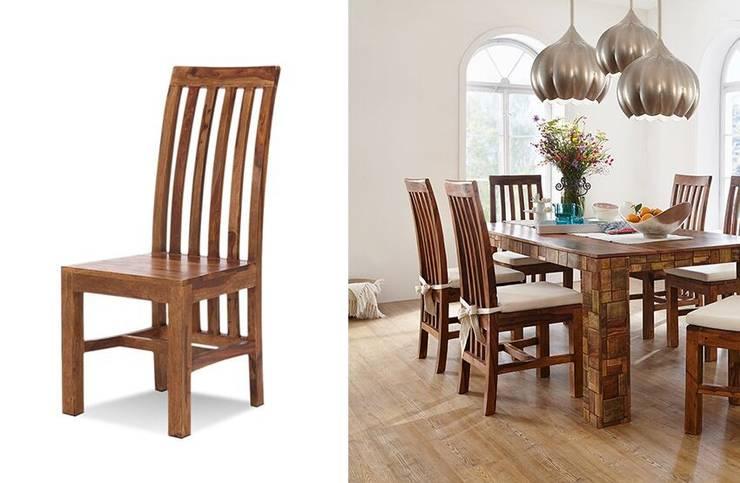 Stuhl Quadrat Palisander Honig massiv Holz gewachst Möbel Wohnzimmer Esszimmer:  Esszimmer von Moebelkultura.DE