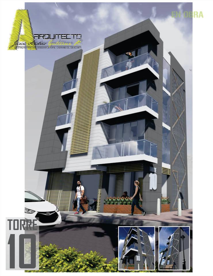 EDIFICIO TORRE 10: Casas de estilo  por ARQUITECTO JUAN ANDRES GUTIERREZ PEREZ