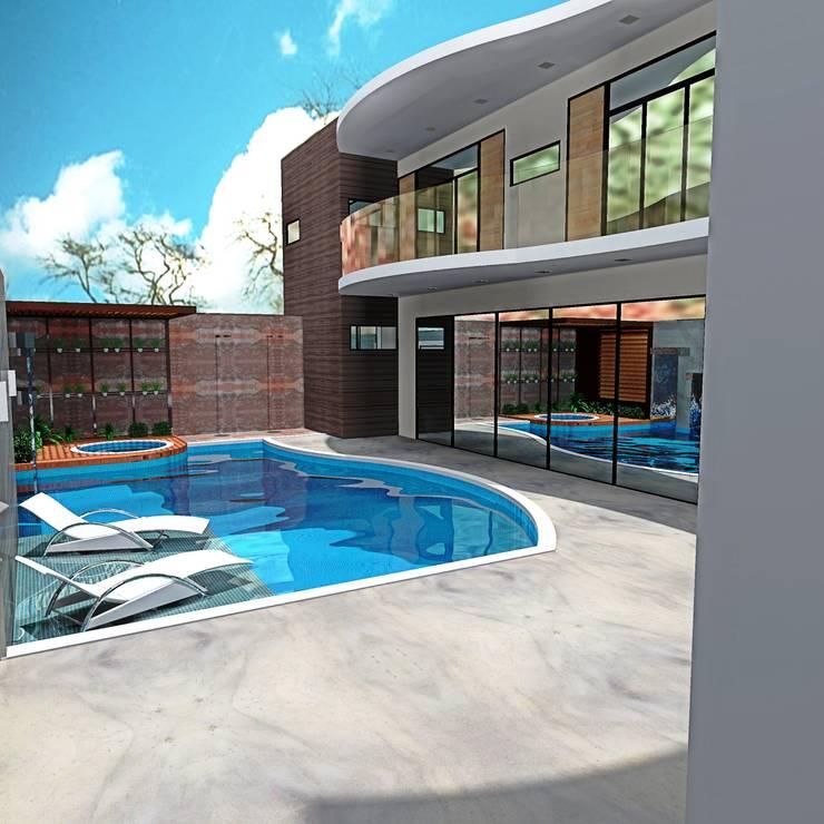 Piscina Integrada: Casas modernas por alessandra_arquiteta