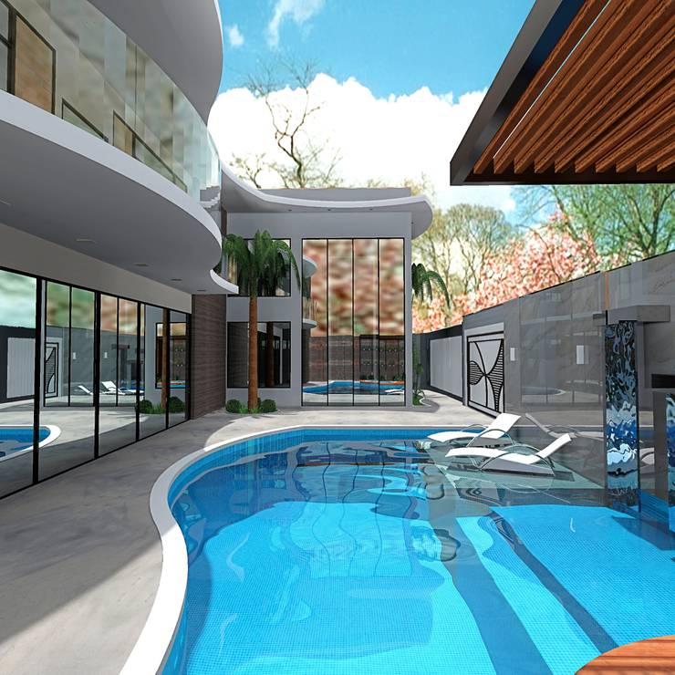 Sacada em curva: Casas modernas por alessandra_arquiteta