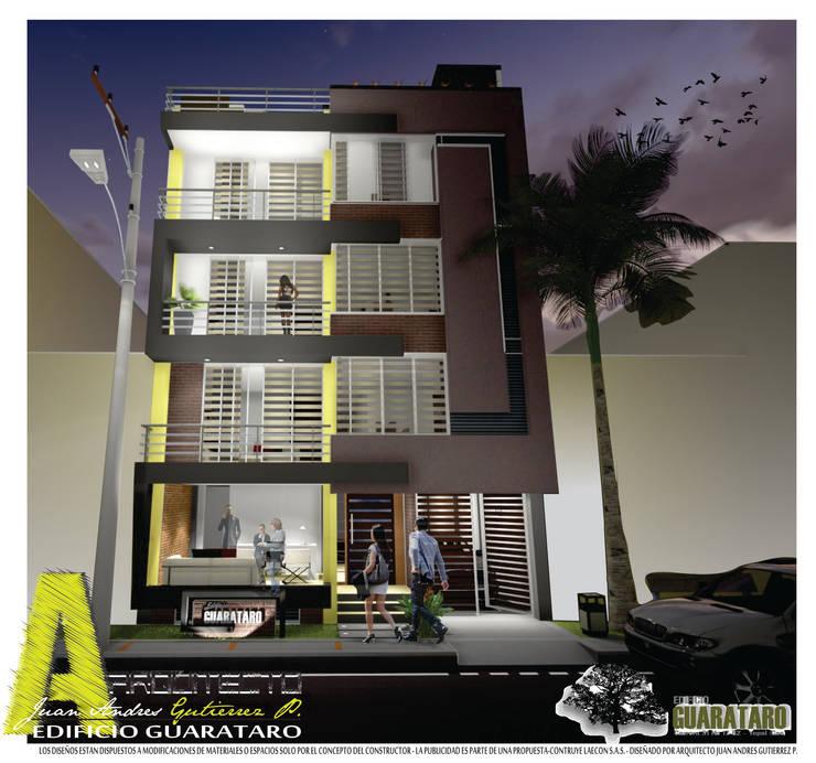 FACHADA PRINCIPAL: Casas de estilo  por ARQUITECTO JUAN ANDRES GUTIERREZ PEREZ