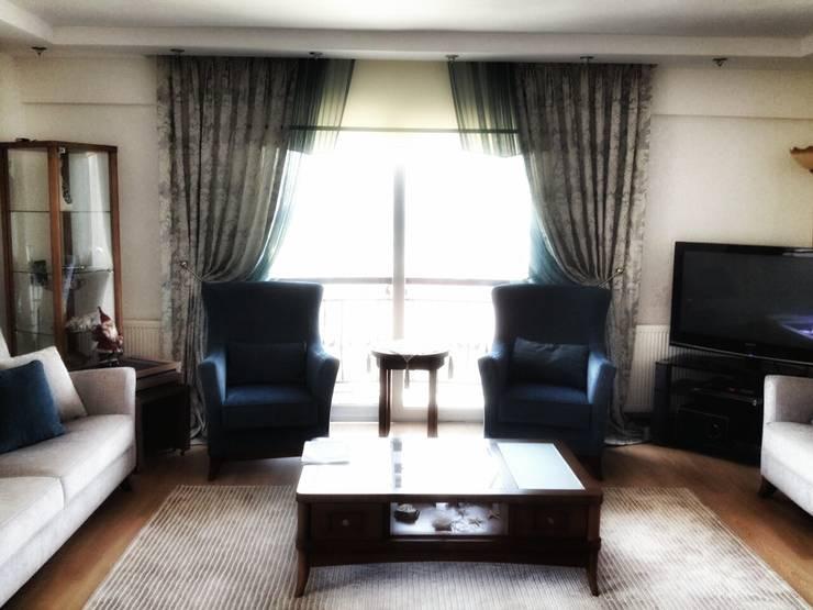 ege perde – BELGİN HANIM :  tarz Oturma Odası, Modern