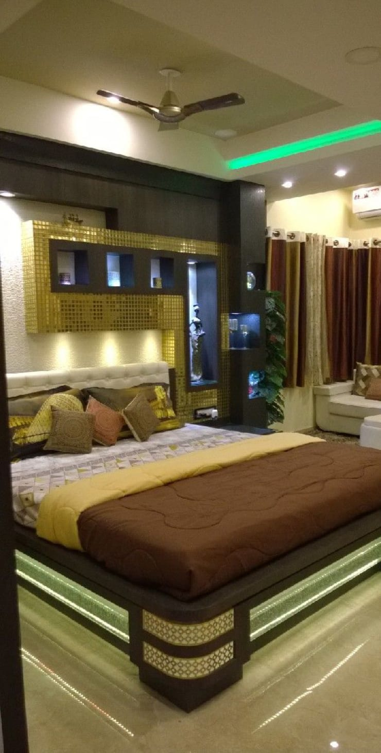 Soothing bedroom:  Bedroom by Anmol Decore