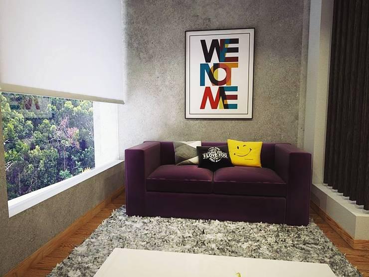 Sala TV: Salas de entretenimiento de estilo  por Kuro Design Studio