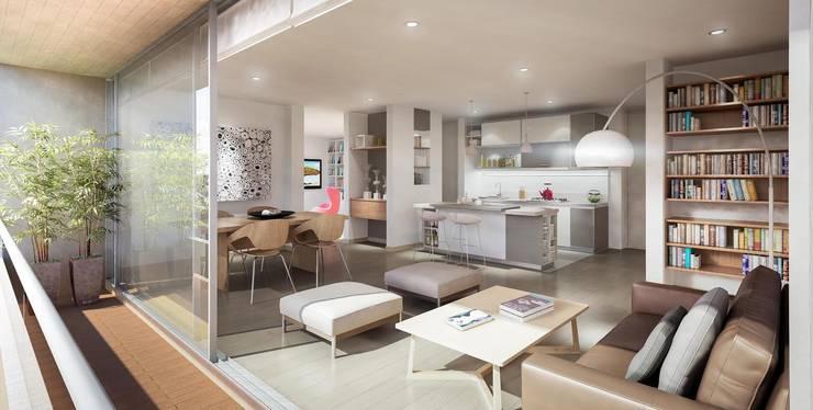 Baumeister: Salas de estilo moderno por PROYECTO BAUMEISTER