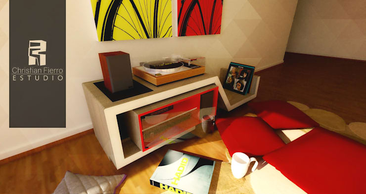 Mobiliario : Livings de estilo  por Christian Fierro Arquitecto