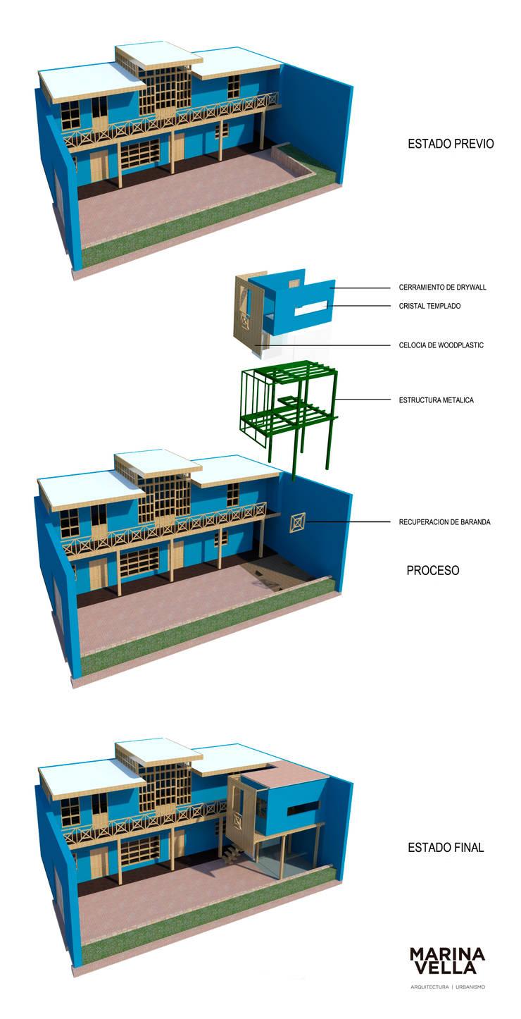 Casa Azul:  de estilo  por Marina Vella Arquitectura,