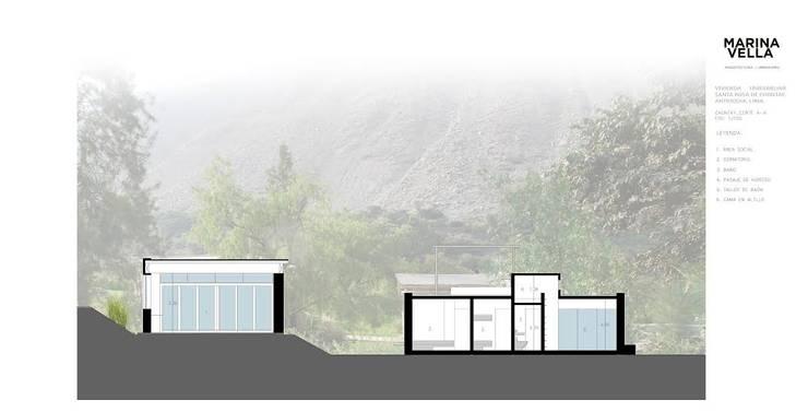 Casa Chontay:  de estilo  por Marina Vella Arquitectura,