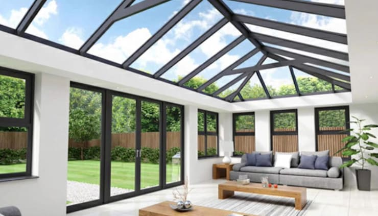 Claasical aluminium stack doors and skylights:  Skylights by Tech Glass and Aluminium, Modern Glass