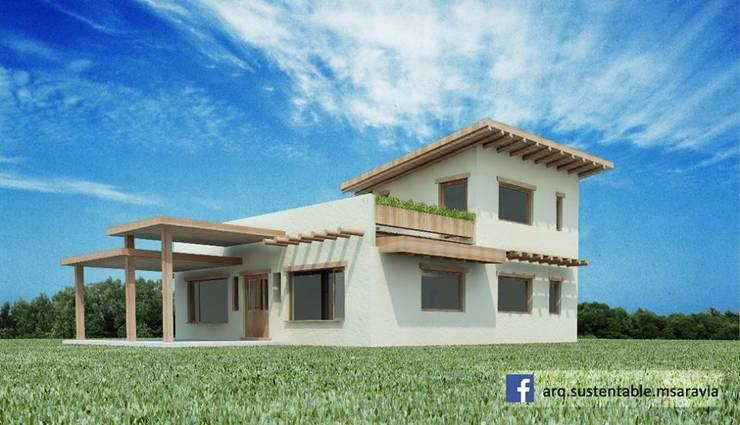 Vivienda de ADOBE en Valle del Golf - Villa Allende. Cordoba: Casas de estilo  por Arq Magdalena Saravia - Estudio de Arquitectura Sustentable -