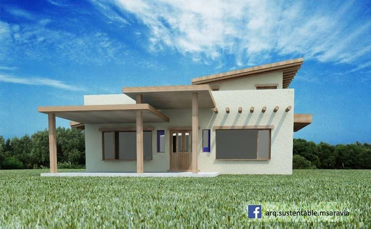 Vivienda de ADOBE en Valle del Golf – Villa Allende. Cordoba: Casas de estilo  por Arq Magdalena Saravia - Estudio de Arquitectura Sustentable -