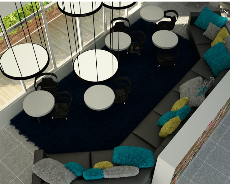 OFICINAS PHD: Oficinas y Tiendas de estilo  por santiago dussan architecture & Interior design