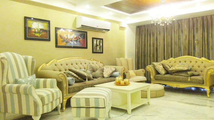 3 BHK Apartment Bengaluru:  Living room by Cee Bee Design Studio