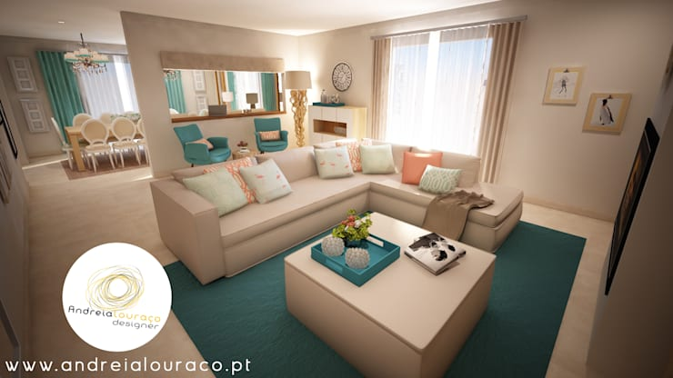 غرفة المعيشة تنفيذ Andreia Louraço - Designer de Interiores (Contacto: atelier.andreialouraco@gmail.com)