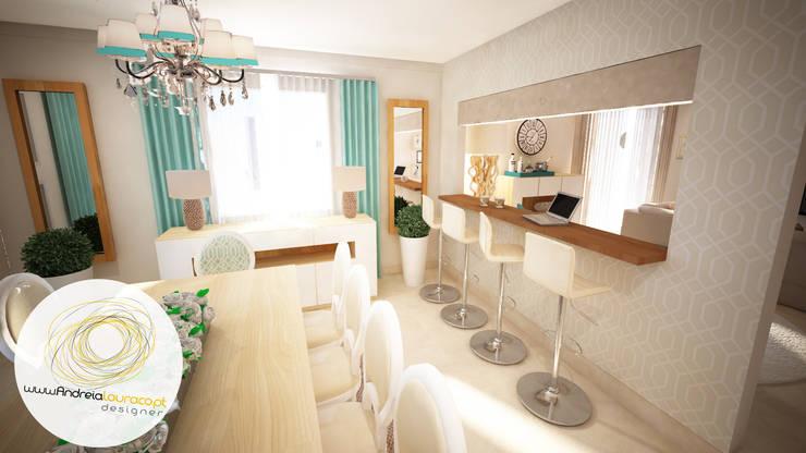 Projecto - Salas, Balcão e Entrada: Salas de jantar  por Andreia Louraço - Designer de Interiores (Contacto: atelier.andreialouraco@gmail.com)