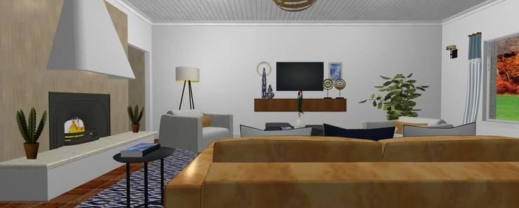 Sala de estar ecléctica :  de estilo  por SilviaKarounos Decor Studio