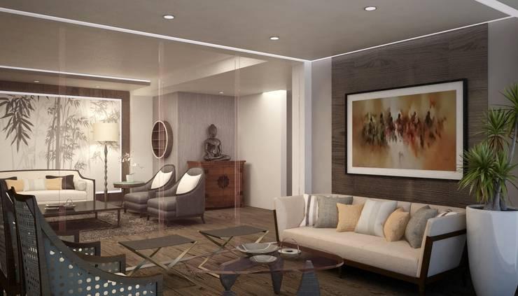 BESSIE: Salas / recibidores de estilo  por Kuro Design Studio