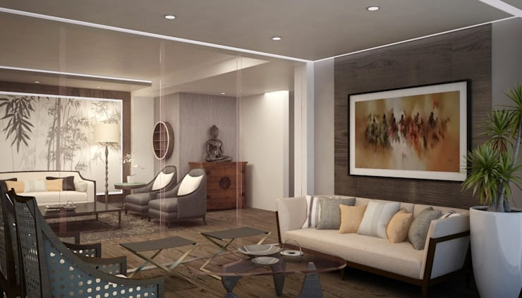 Salas / recibidores de estilo  por Kuro Design Studio