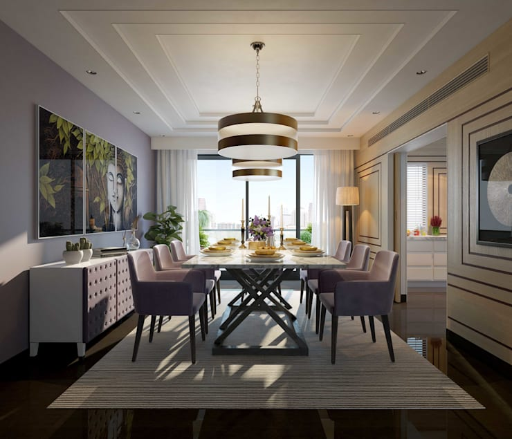 Apartment with a Terrace :  Dining room by Aijaz Hakim Architect [AHA]