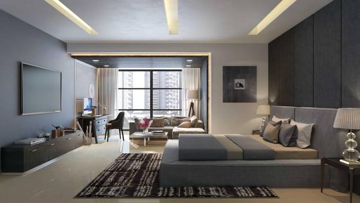 Apartment with a Terrace :  Bathroom by Aijaz Hakim Architect [AHA]